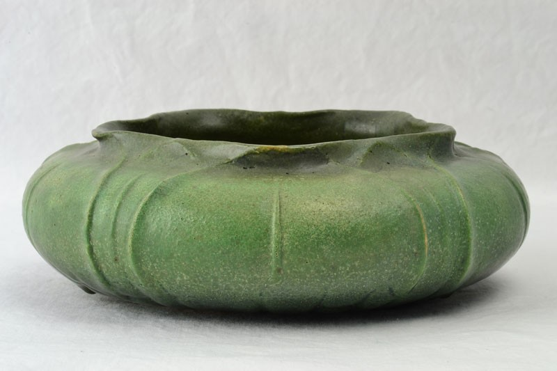 Grueby Faience Pottery 1900 S Organic Form Green Bowl