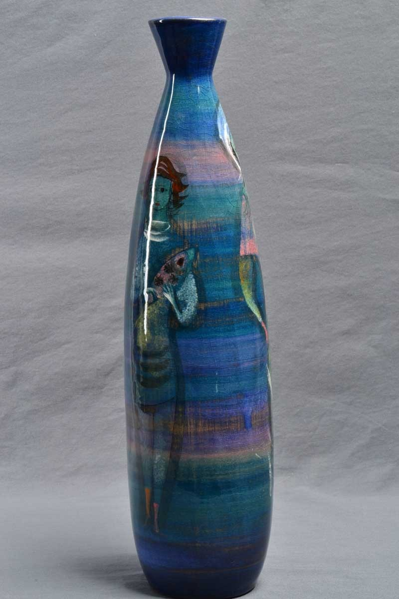 Pillin Pottery 3 Women With Fish Blue Tall Bottle Pinched Neck Vase The Kings Fortune