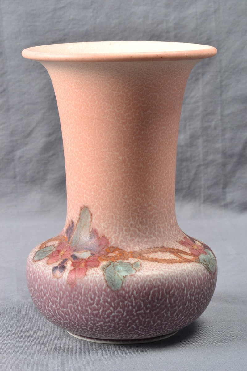 Rookwood Pottery Decorated Mat Double Vellum Pink Floral Vase 2719 Signed Hm 1924 The Kings