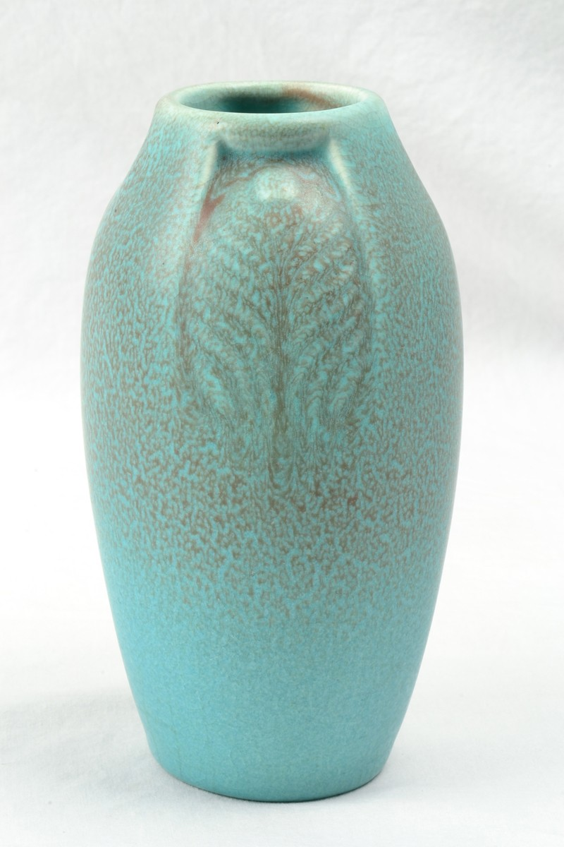 Rookwood pottery vase arts and crafts blue vellum peacock feather rookwood pottery vase arts and crafts blue vellum peacock feather vase 2402 1918 the kings fortune vintage art pottery and glass reviewsmspy