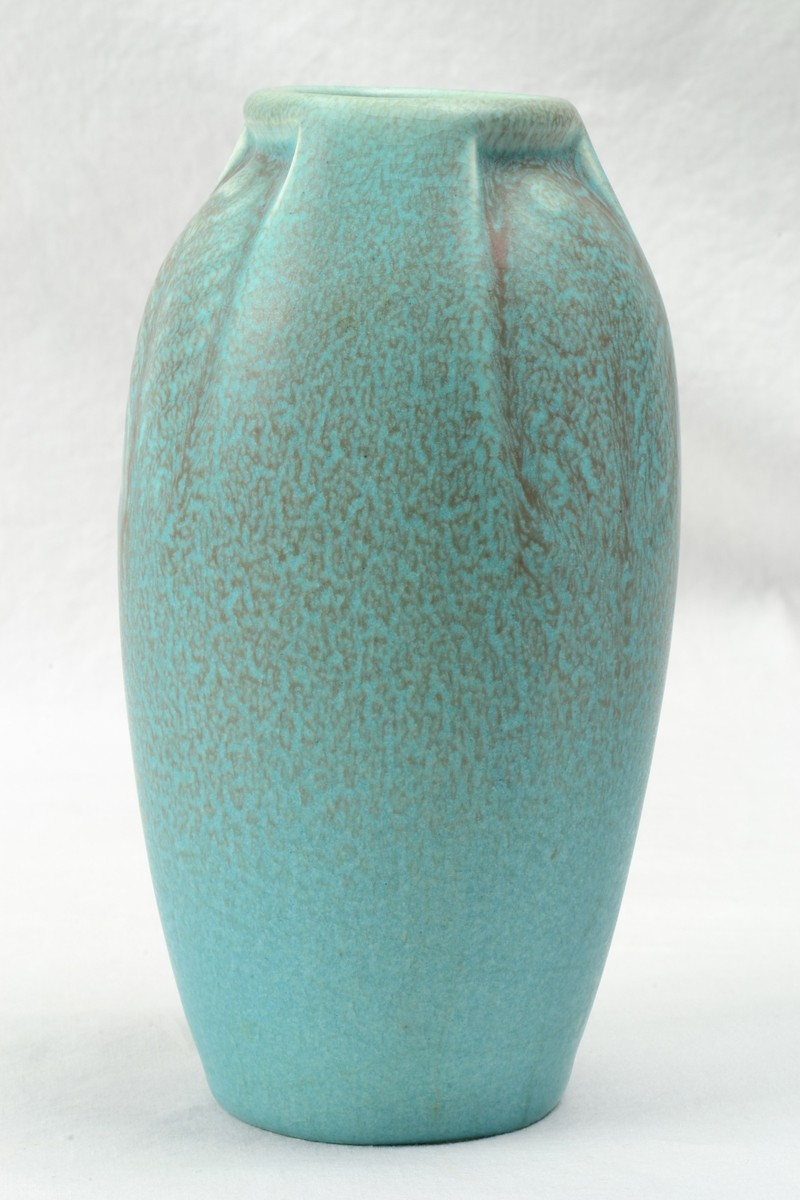 Rookwood Pottery Vase Arts And Crafts Blue Vellum Peacock Feather Vase 2402 1918 The Kings