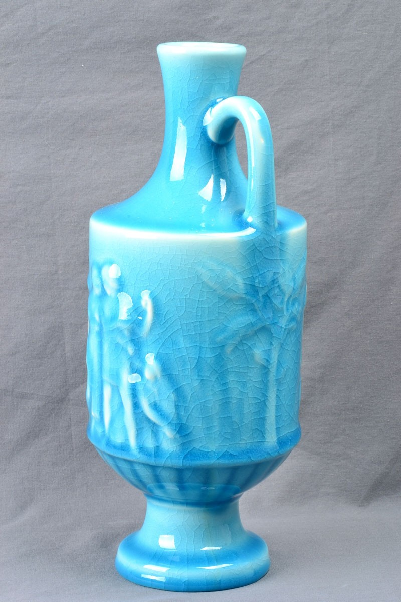 Rookwood Pottery 1946 Gloss Turquoise Blue Grecian Urn Vase 6791 The Kings Fortune