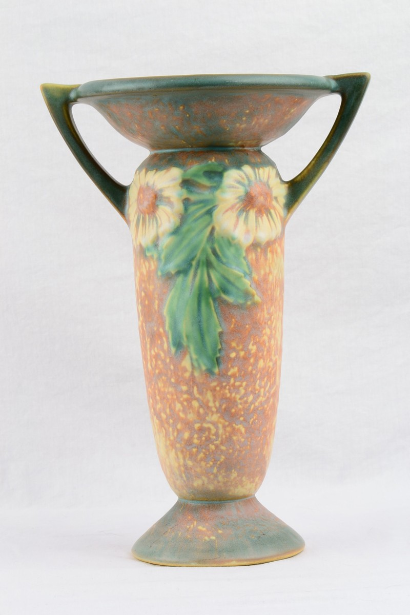 1922 Roseville Dahlrose Ovoid Double Handle Vase With Flared Rim 325 00 The Kings Fortune