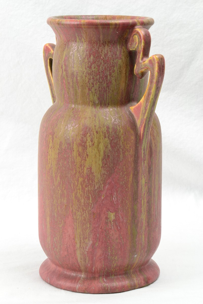 Roseville Pottery Vase Cotton Candy Carnelian Ii Handled Vase 313 9 1915 The Kings Fortune