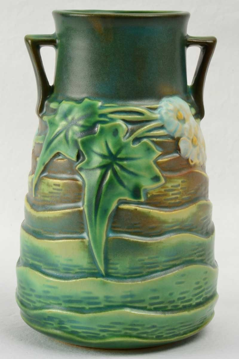 Roseville Pottery 1934 Luffa Green Vase 683 6 Foil Label Roseville Pottery Products The