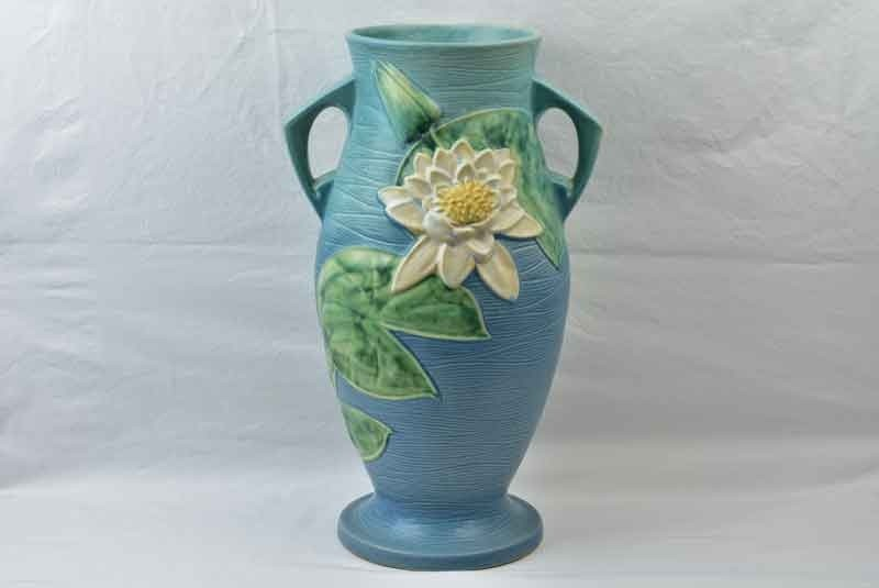 Roseville Pottery 1943 Blue Water Lily Floor Vase 85 18 The Kings Fortune