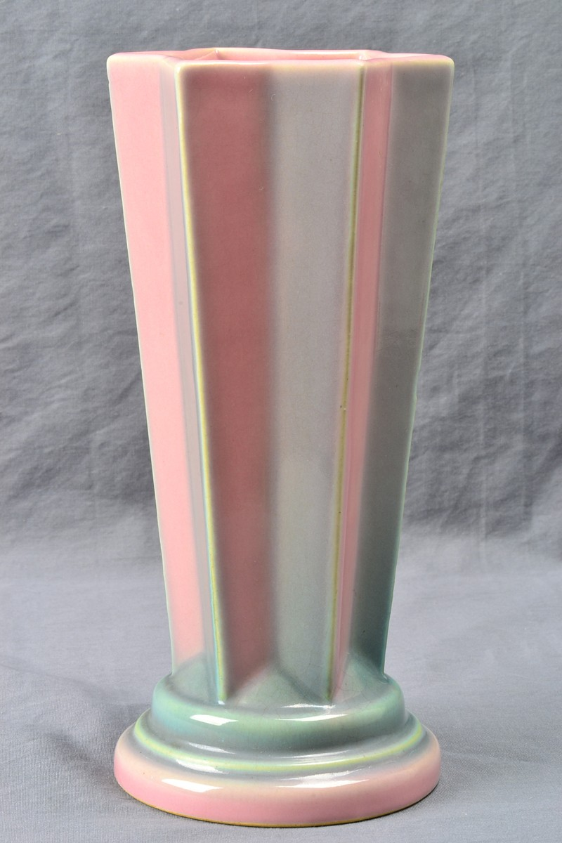 Roseville Pottery Futura Pink Pleated Star Vase 385 8 1924 The Kings Fortune