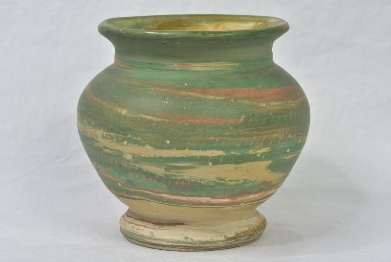 Silver Springs Pottery 1930 Green Tan Small Swirl Vase Artist Signed Products The Kings Fortune