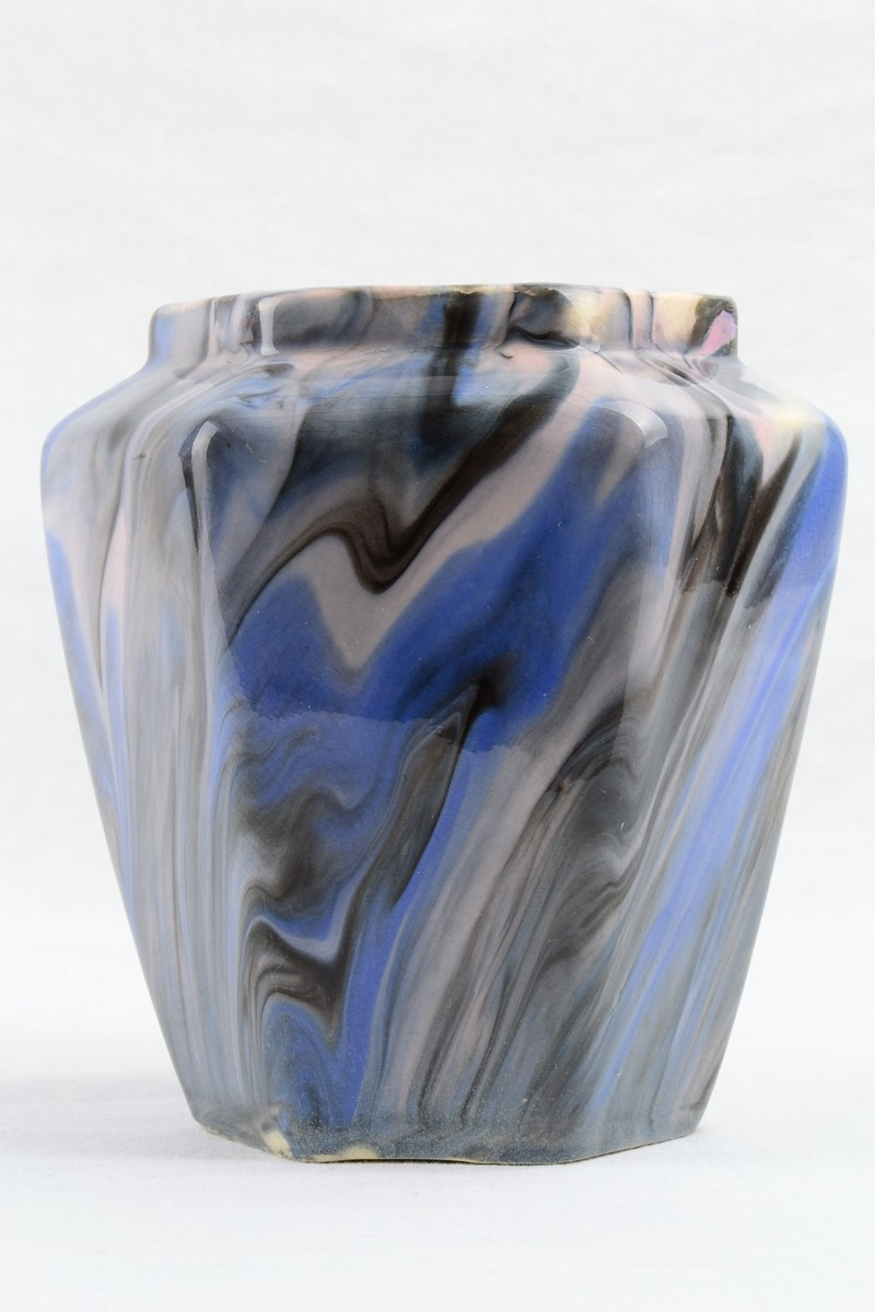 1914 Weller Blue Bo Marblo Marbleized Octagonal Vase 165 00 The Kings Fortune Vintage And