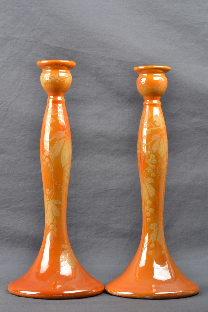 Weller Pottery 1920 25 Besline Tall Candle Holders