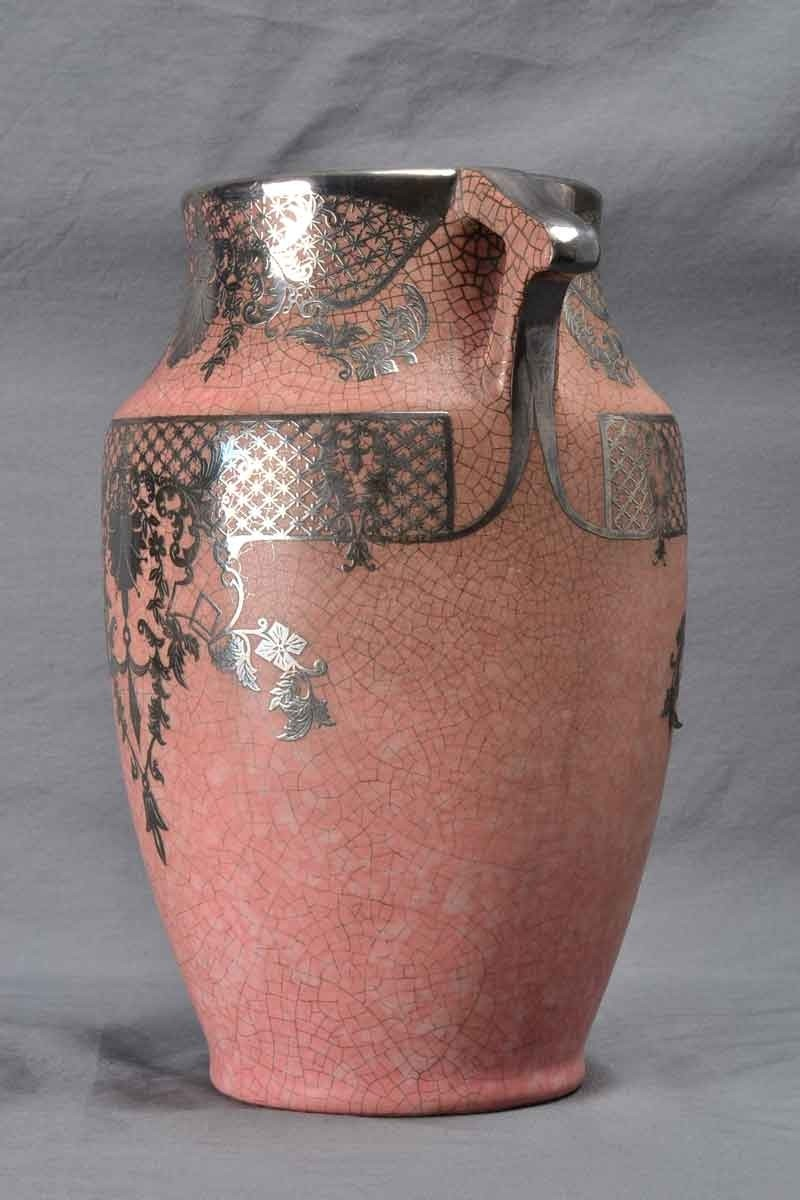 Vintage Weller Pottery Vase Pink With Silver Overlay 1930 S 425 00 The Kings Fortune