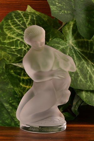 Lalique Crystal after 1978 Diane with Fawn Figurine Figural