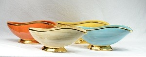 1960's McCoy Harmony Banana Boat Bowl Planter with Gold Trim