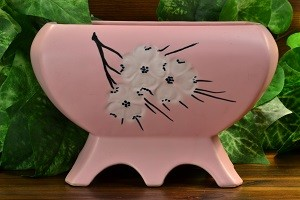 McCoy Pottery Planter in Pink Spring Wood , 1961