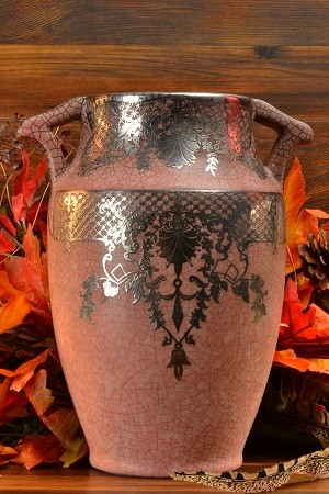Vintage Weller Pottery Vase Pink with Silver Overlay 1930's