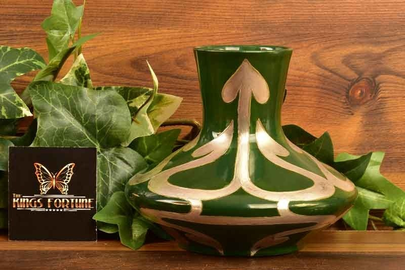 American Satsuma 1910 Green with Silver Vase by Louise Addison