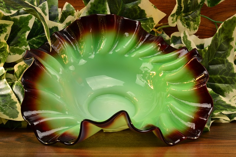 Victorian Late 1800's Oxblood Red and Vaseline Green Bridal Bowl
