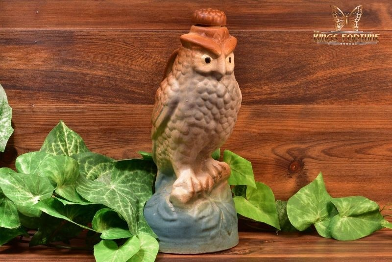 Brush Pottery 1927 Pastel Owl Bottle with Cork #0136 Wise Birds Collection