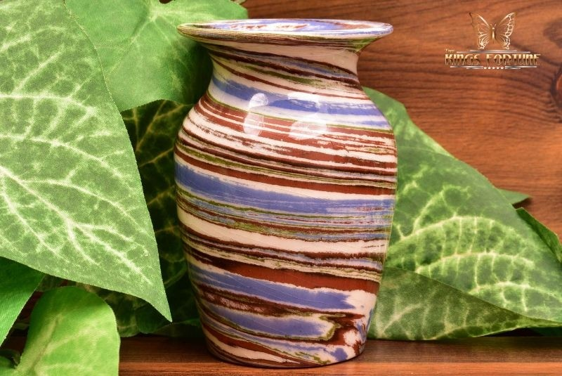 Desert Sands Pottery 1950-70 's Glossy Blue Brown Swirl Flared Rim Vase Stamped