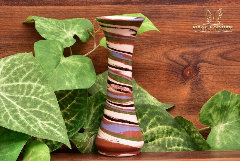 Desert Sands Pottery 1950-70 's Yellow Brown White Glossy Swirl Spindle Vase Stamped