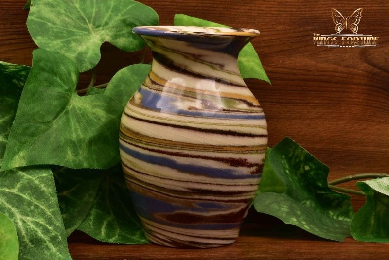 Desert Sands Pottery 1950-70 's Glossy White Blue Green Swirl Vase Stamped