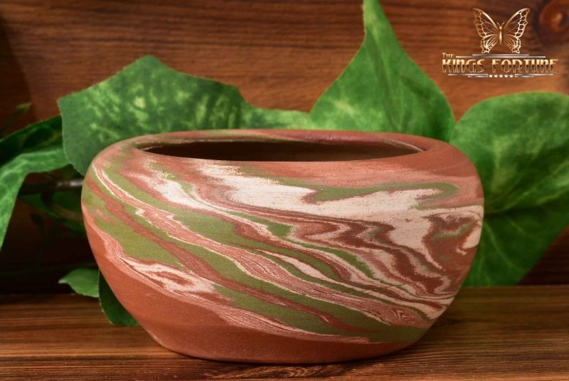 Desert Sands Pottery 1950-70 's Green White Brown Swirl Small Bowl Stamped