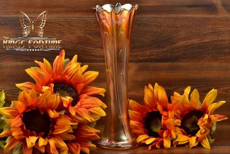 Diamond Glass 1913 Marigold Pulled Loop Carnival Vase