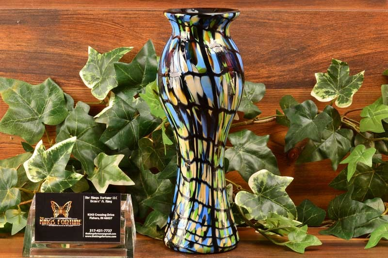 Fenton Glass Early 2000's Blue Mosaic Threaded Vase Dave Fetty Dealer Purchase Only