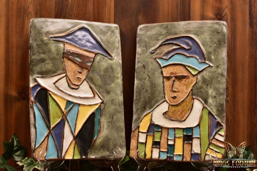 Harris Strong Early 1950s MCM Harlequin P-15 Jester P-16 Terracotta Tiles Plaques
