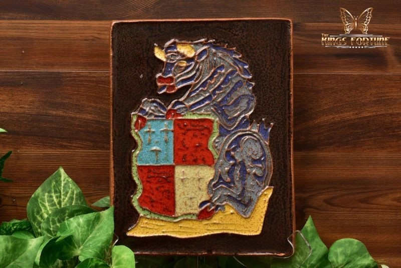 Harris Strong MCM 1963 Art Pottery Heraldic Bull Crest Terracotta Tile Plaque
