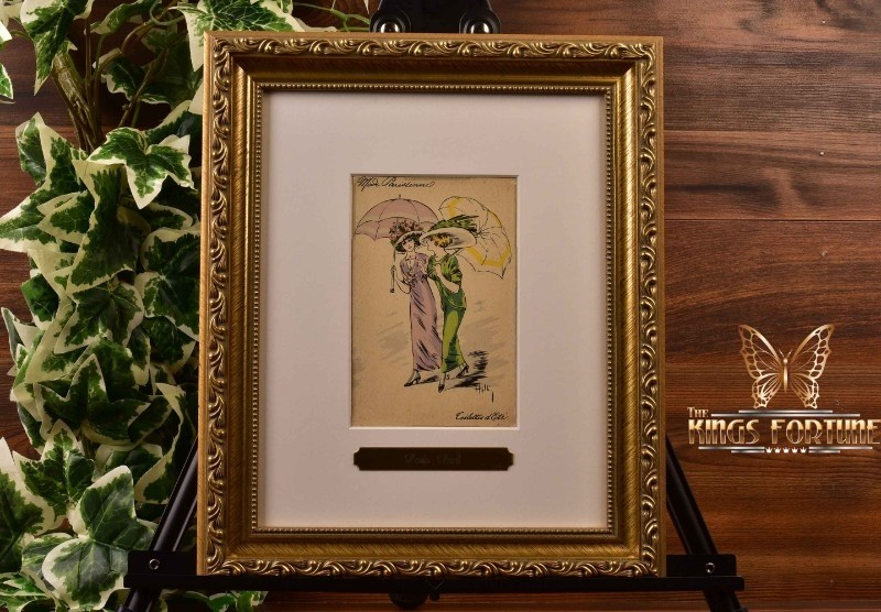 Louis Icart (Helli) 1911 'Coilette's Summer' Postcard and Framed COA