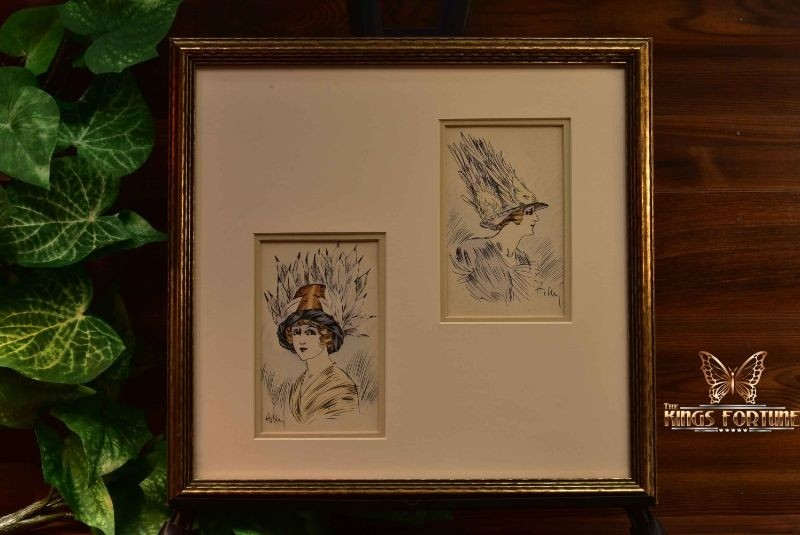 Louis Icart (Helli) c1910 Plumage Hat and Victory Hat Postcards Framed