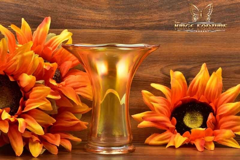 Imperial Glass 1909-1930 Marigold Smooth Panel Carnival Short Vase