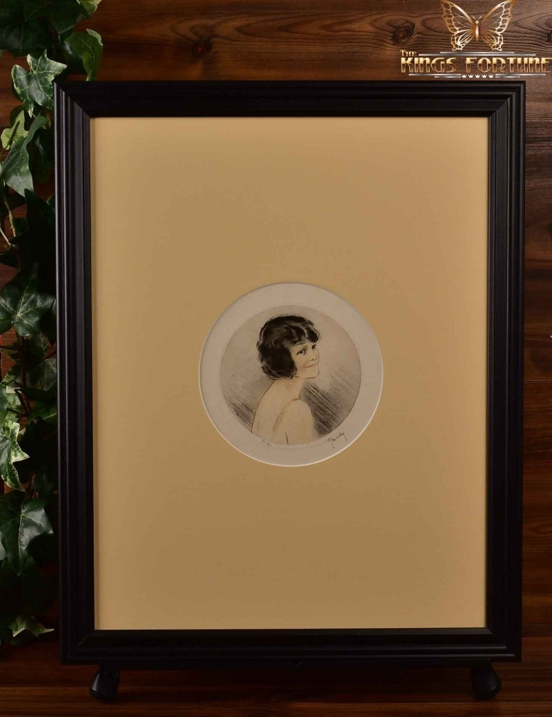 Jean Hardy Etching 1927 'Agnes' Framed