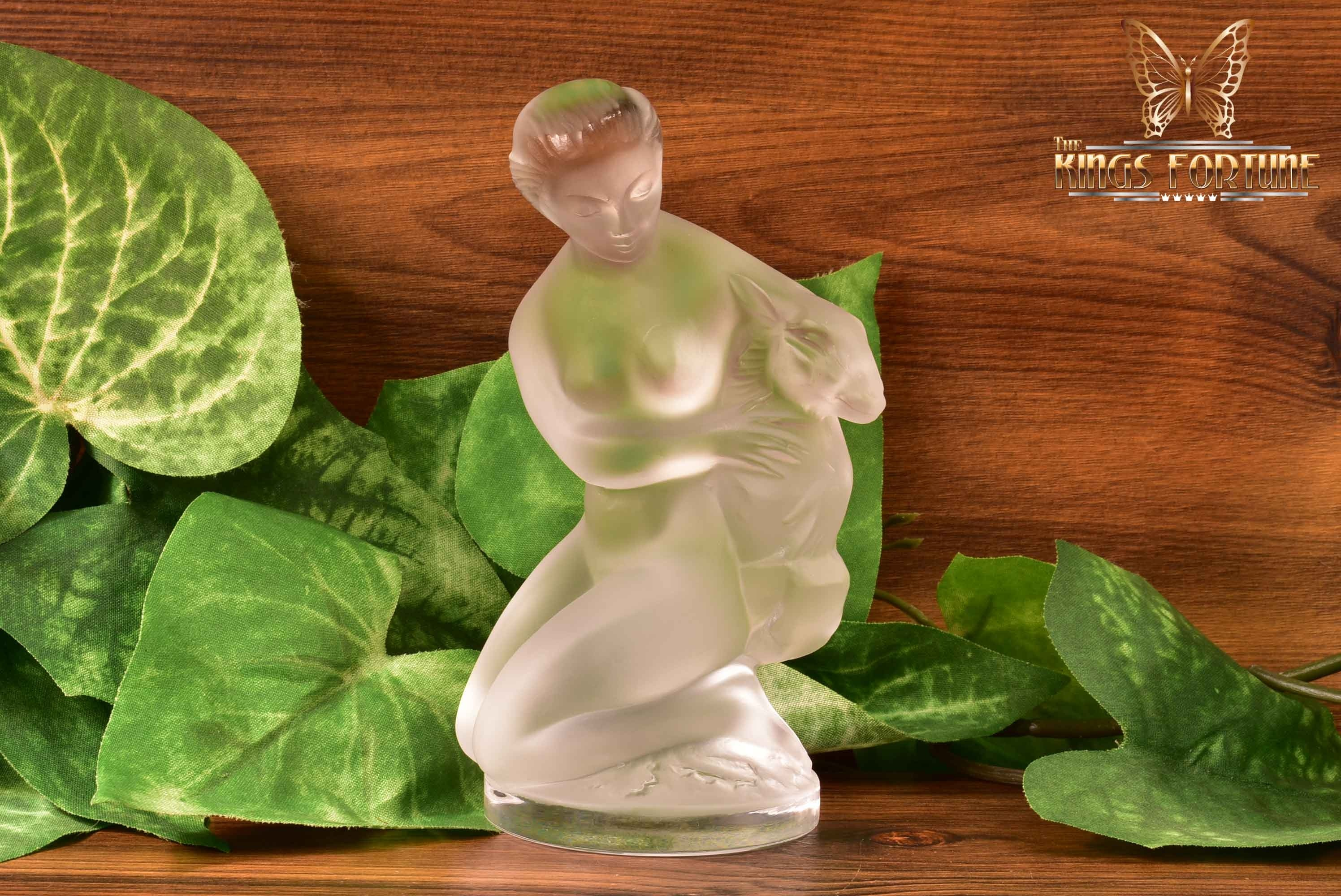 Lalique Crystal pre-1978 Diane with Fawn Figurine