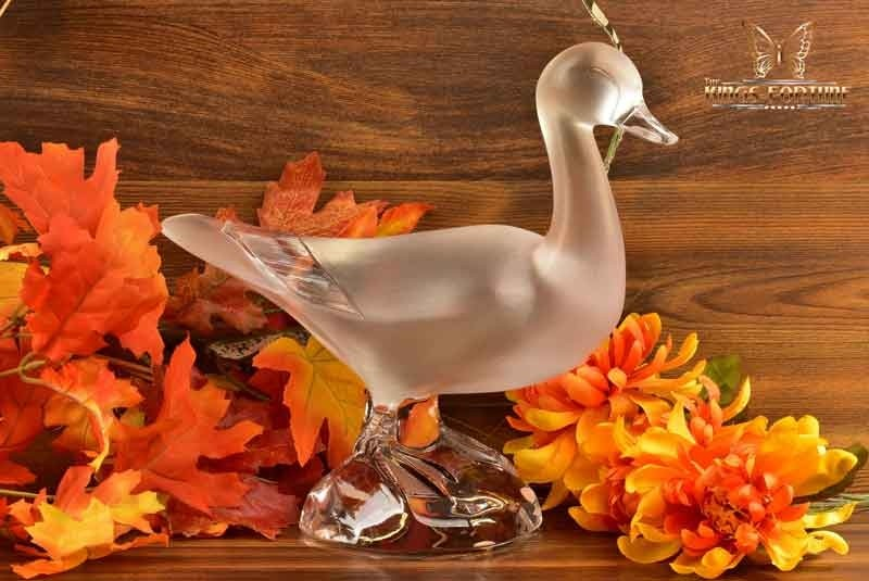 Lalique Crystal 1980s Tall Duck Sculpture #11632