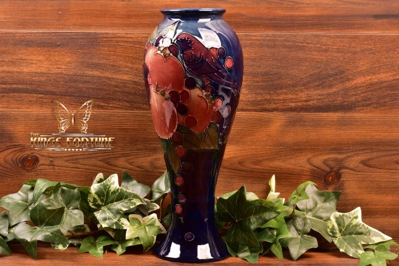 Moorcroft Pottery 1991 Finches and Fruit Blue Cobalt Tall Vase