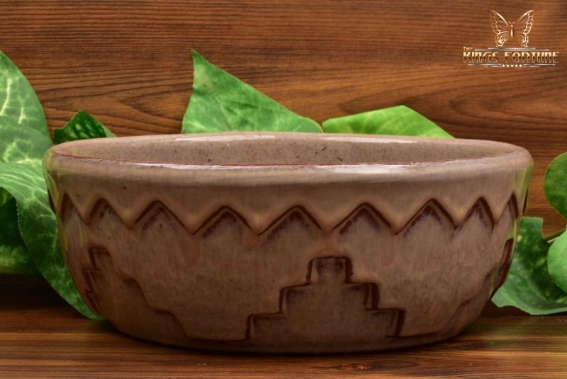 Mountainside Pottery 1929-41 Arts and Crafts Geometric Pattern Brown Purple Serving Bowl