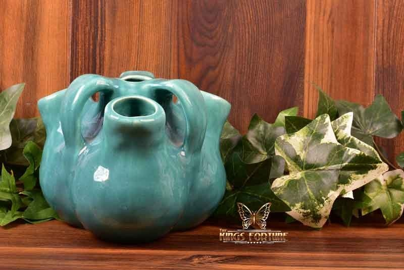 Muncie Pottery 1928 Spanish Line Glossy Green Low Aorta Vase #278-5 Haley Design