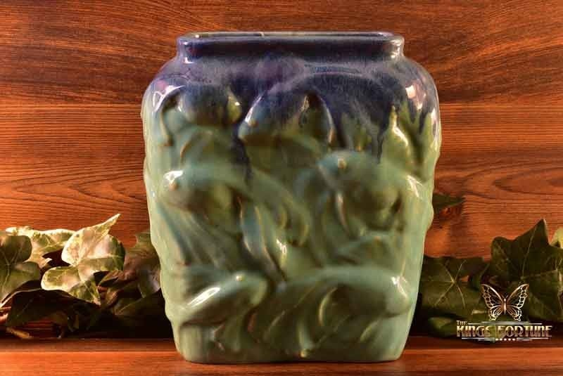 Muncie Pottery 1929 Blue Over Green Goldfish Vase #189-9 Haley Design