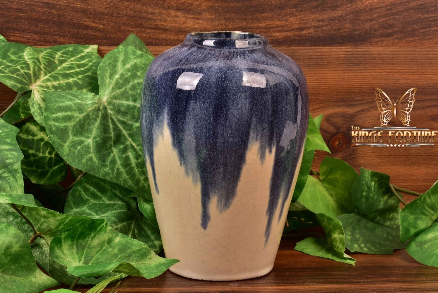 Muncie Pottery 1929 Blue Over White Ginger Jar Vase #102-7
