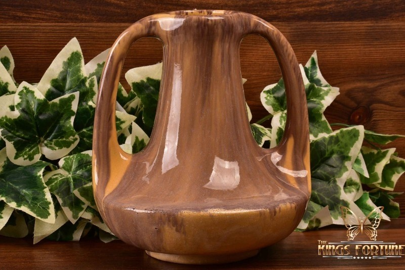 Muncie Pottery 1929 Yellow Brown Peachskin 2 Handle Genie Vase #143-7