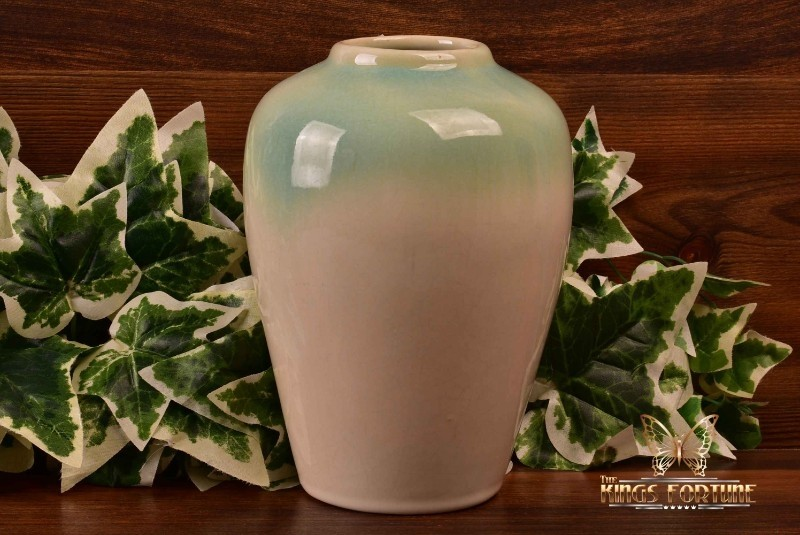 Muncie Pottery 1929 Green Over White Ginger Jar Vase #102-7