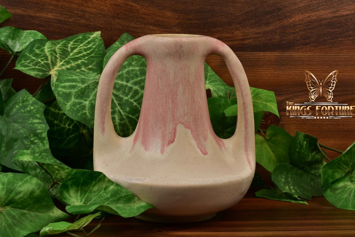 Muncie Pottery 1929 Pink White 2 Handle Genie Vase #143-7