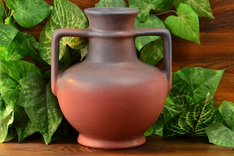 Muncie Pottery 1930 Blue over Pink Greek Jug #181-7 1/2