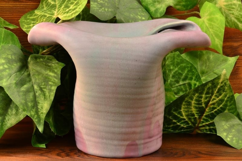 Muncie Pottery 1930 Green over Lilac Floppy Hat Vase #432-5