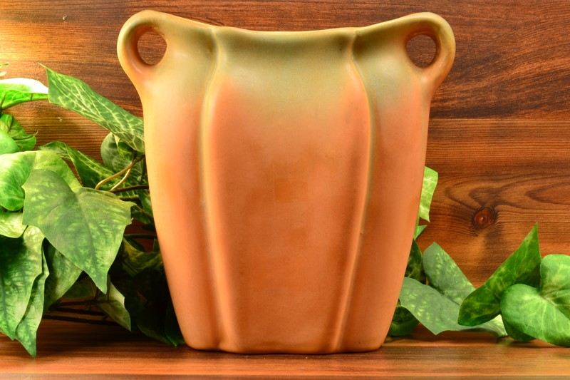 Muncie Pottery Green Drip Over Pumpkin Vase with Handles (Shape 192-9), 1930's 2A