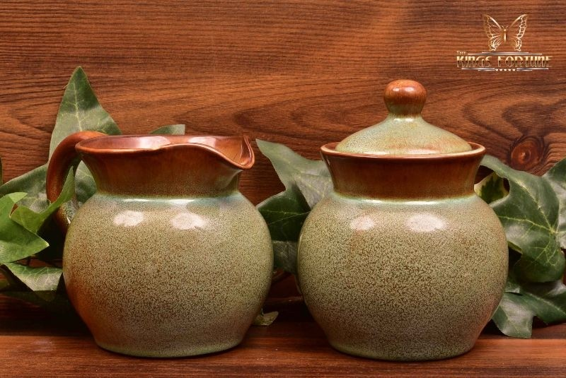 Nicodemus Pottery Mottled Green Pitcher #281 and Sugar #206