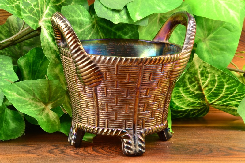 Northwood Glass 1902-25 Amethyst Purple Carnival Basketweave Bushel Basket