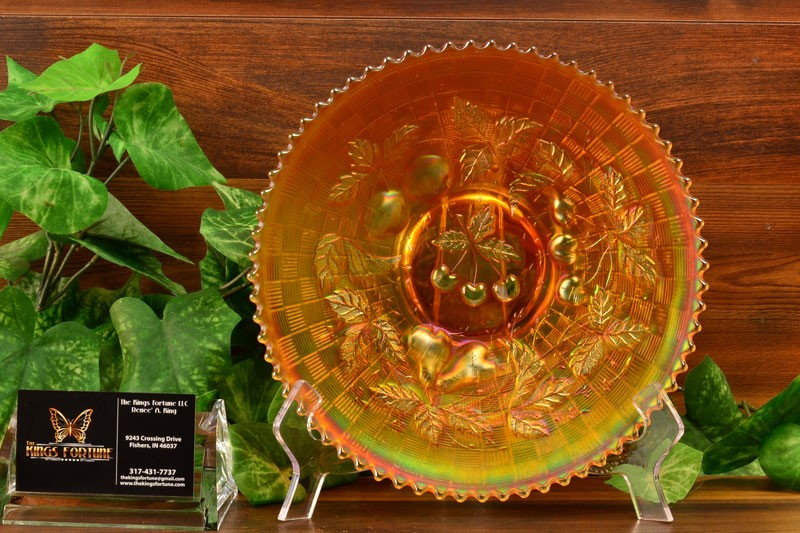 Northwood Glass 1912 Three Fruits Marigold Carnival Plate Basket Weave Back